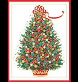 Caspari Boxed Christmas Cards 10pk Christmas Tree Embossed Cards