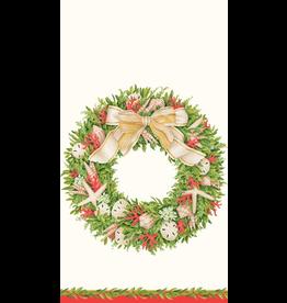 Caspari Coastal Christmas Paper Guest Towel Napkins 15pk Shell Wreath