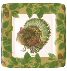 Caspari Fall Thanksgiving Paper Salad Dessert Plates 8pk Square Turkey And Acorns