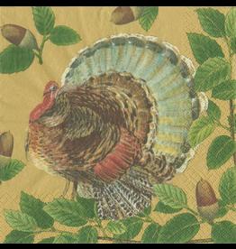 Caspari Thanksgiving Paper Lunch Napkins 20pk Turkey And Acorns
