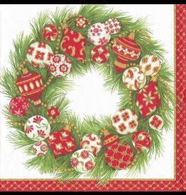 Caspari Christmas Paper Lunch Napkins 20pk Ornament Wreath