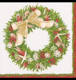 Caspari Coastal Christmas Paper Cocktail Napkins 20pk Shell Wreath