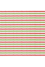 Caspari Christmas Paper Cocktail Napkins 20pk Rickrack Red Green