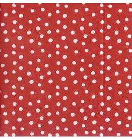 Caspari Paper Cocktail Napkins 20pk Small Dots Red