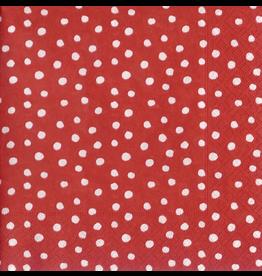 Caspari Paper Cocktail Napkins 20pk Small Dots Red