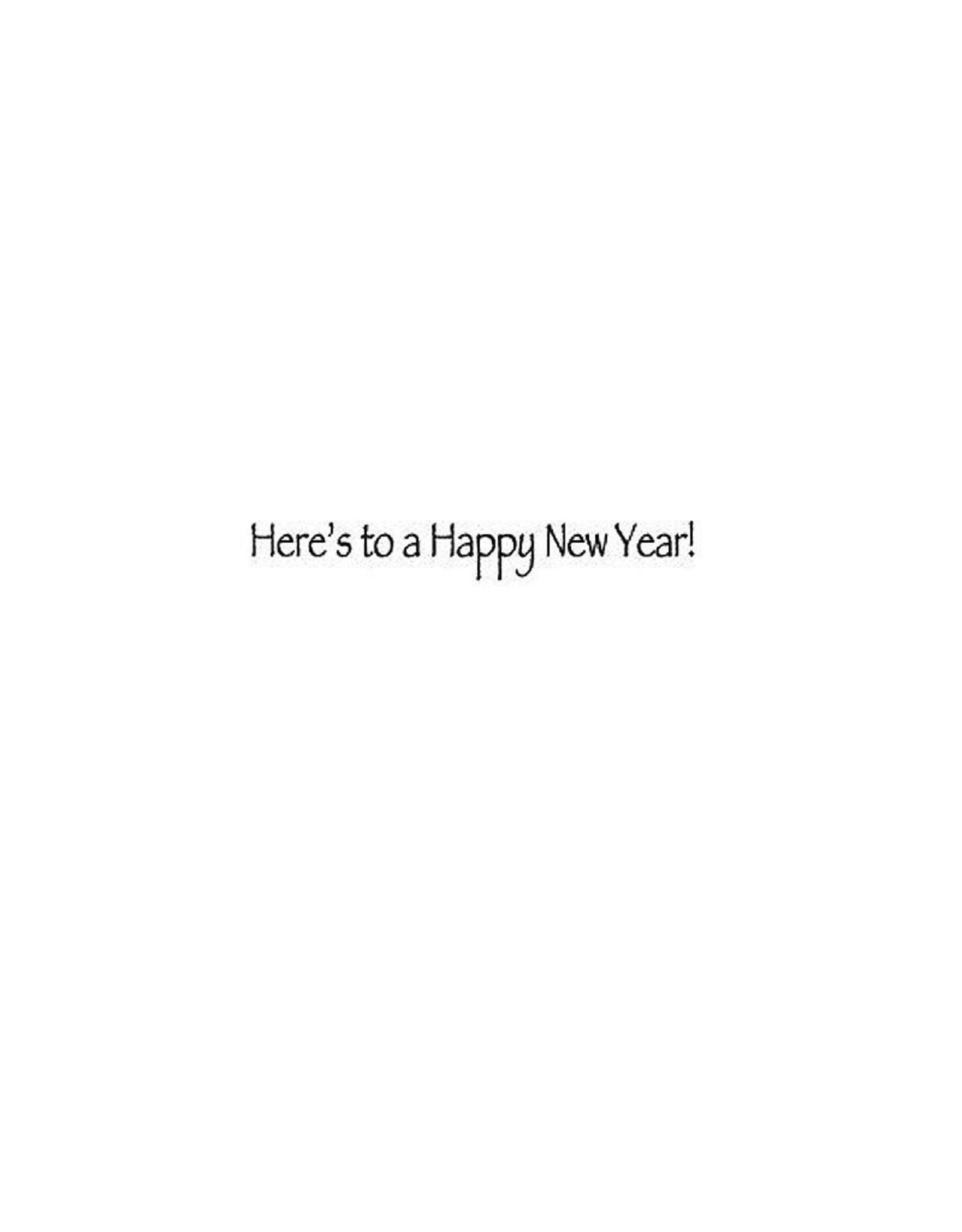 Caspari New Years Card Champagne Glasses And Fireworks