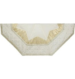 Kurt Adler Christmas Tree Skirt 52 inch Ivory-Gold w Quilted Border