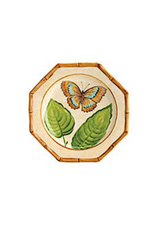 Bamboo Garden Salad Plate With Butterfly Gold Blue