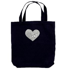 Darice Black With Bling Rhinestone Heart Cotton Canvas Tote Bag