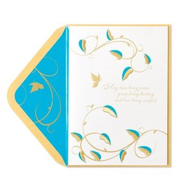 PAPYRUS® Sympathy Card Teal Flock And Gold Embroidery