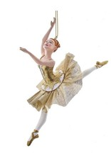 Kurt Adler Ballerina Christmas Ornament Metallic Gold Arabesques B