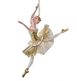 Kurt Adler Ballerina Christmas Ornament Metallic Gold Arabesques B