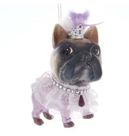 Kurt Adler Glass Royal Splendor Dog Ornament Pug In Lace W Crown