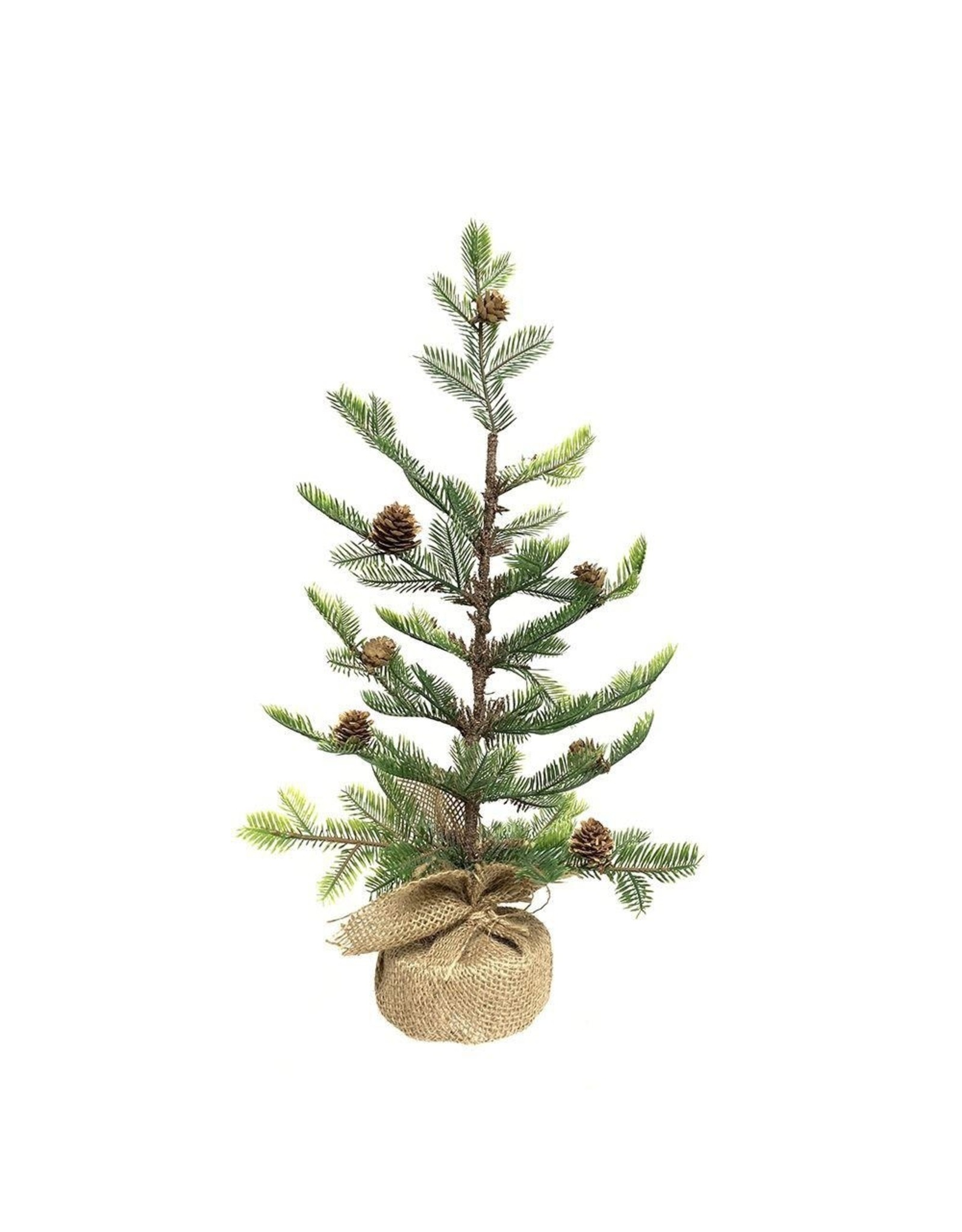 Kurt Adler Charlie Brown Style Pine Tree W Pinecones in Burlap 18 Inch
