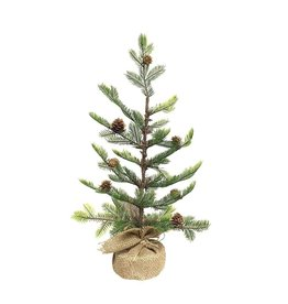 Kurt Adler Charlie Brown Style Pine Tree W Pinecones in Burlap 18 Inch