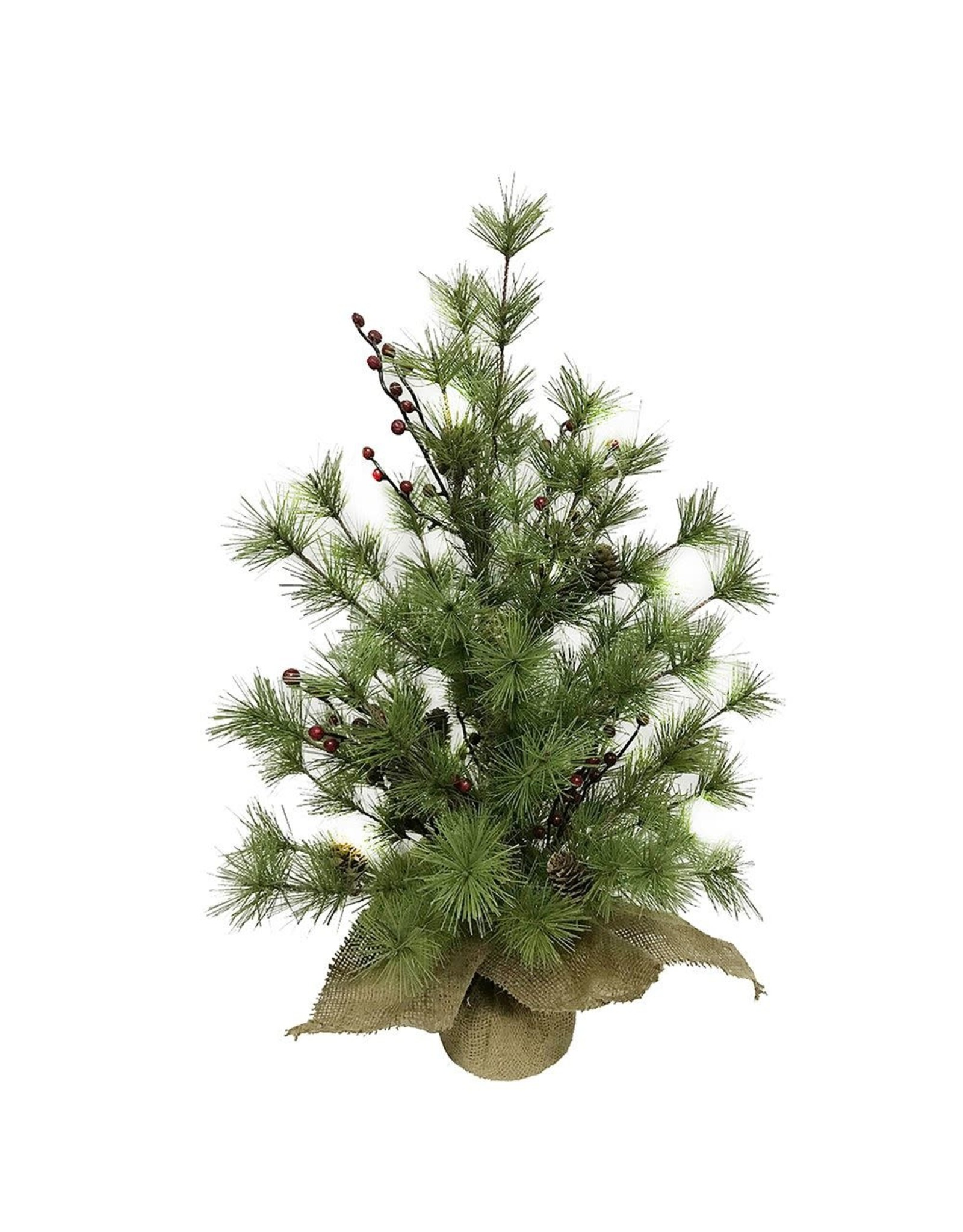 Kurt Adler Pine Tree With Red Berries And Pinecones 2 FT Non-Lit