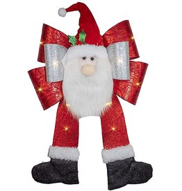 Kurt Adler Santa Light-Up Bow Door Hanger Battery-Operated 26L