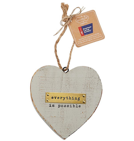 Mud Pie Everything Is Possible Wooden Heart American Cancer Society Ornament