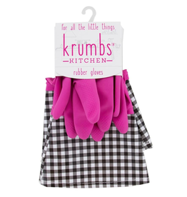 Designer Rubber Gloves Pink With Gingham Cuff