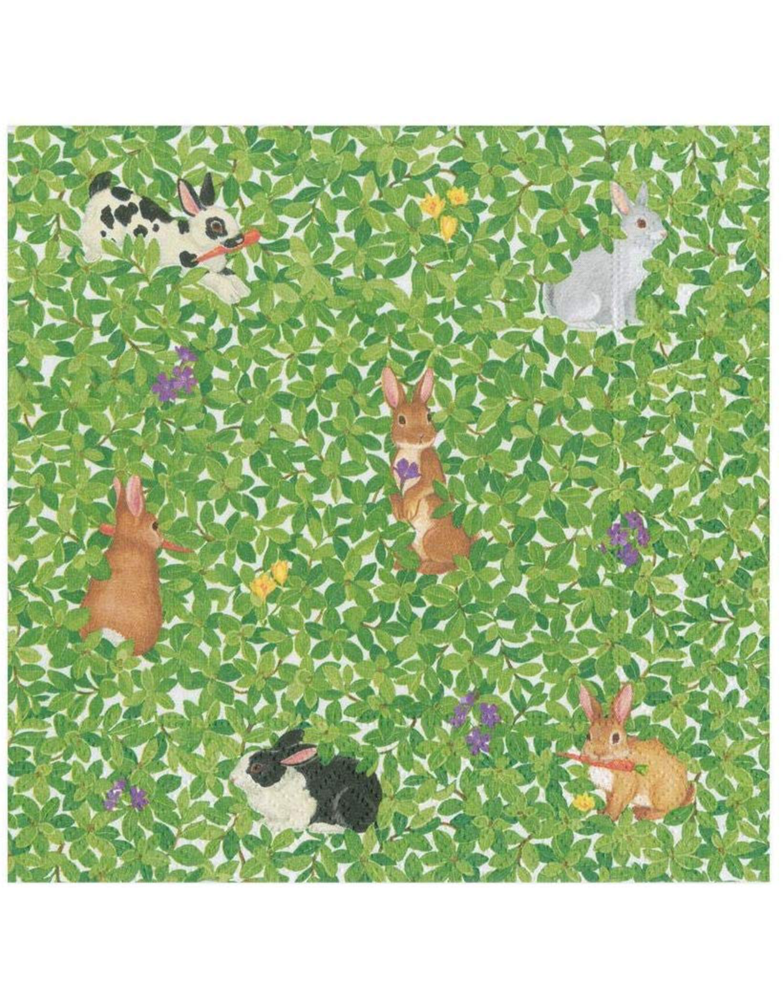 Caspari Easter Paper Cocktail Napkins  20pk Bunnies And Boxwood