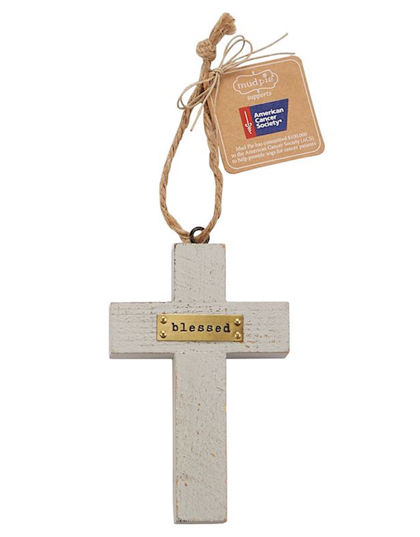 Mud Pie Blessed Wooden Cross American Cancer Society Ornament