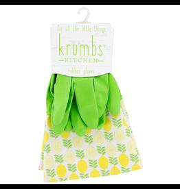 Designer Rubber Gloves Green With Lemons Cuff