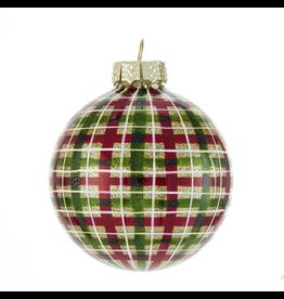 Kurt Adler Red Green Plaid Glass Ball Ornaments Set of 6 80mm