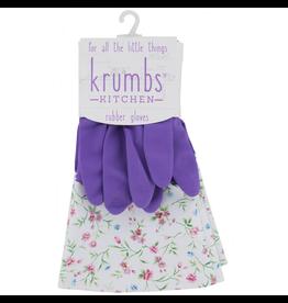 Designer Rubber Gloves Purple With Floral Cuff