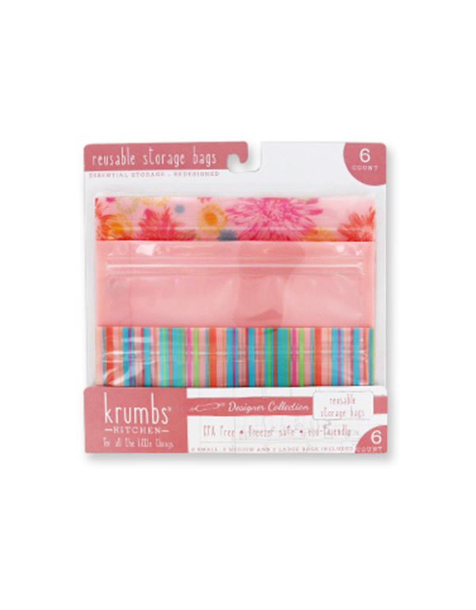 Reusable Storage Bags 6 Pack 2 Each SM-MD-LG Pink Stripe