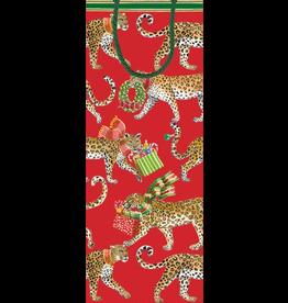 Caspari Christmas Wine Bottle Gift Bag Christmas Leopards