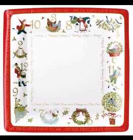 Caspari Christmas Paper Dinner Plates 8pk Square On The 12th Day