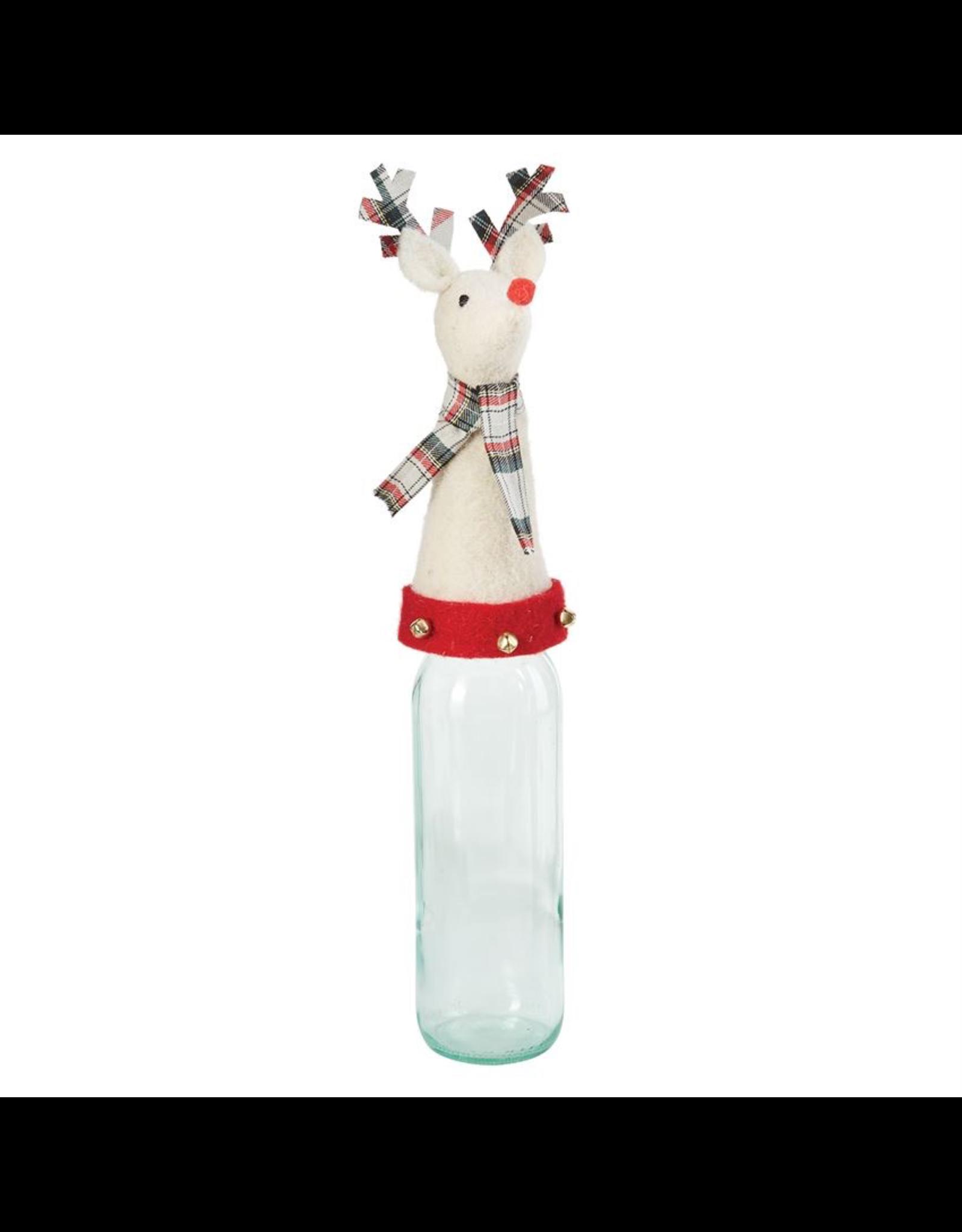 Mud Pie Reindeer Christmas Bottle Topper 9 Inch White Deer