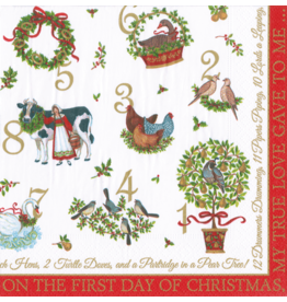 Caspari Christmas Paper Lunch Napkins 20pk On The 12th Day