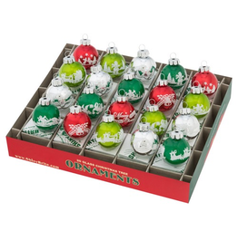 Christopher Radko Shiny Brite Holiday Splendor Signature Flocked Rounds 20 Ct 1.25 inch