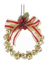 Kurt Adler Metal Gold Bells Mini Wreath Christmas Ornament 4 Inch