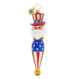 Christopher Radko Season Sam Patriotic Uncle Sam Americana Christmas Ornament