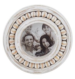 Mud Pie White Washed Beaded Frame 5 Inch Round