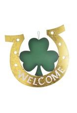 Darice Irish St Patricks Day Welcome Horseshoe Shamrock Decor 15 Inch