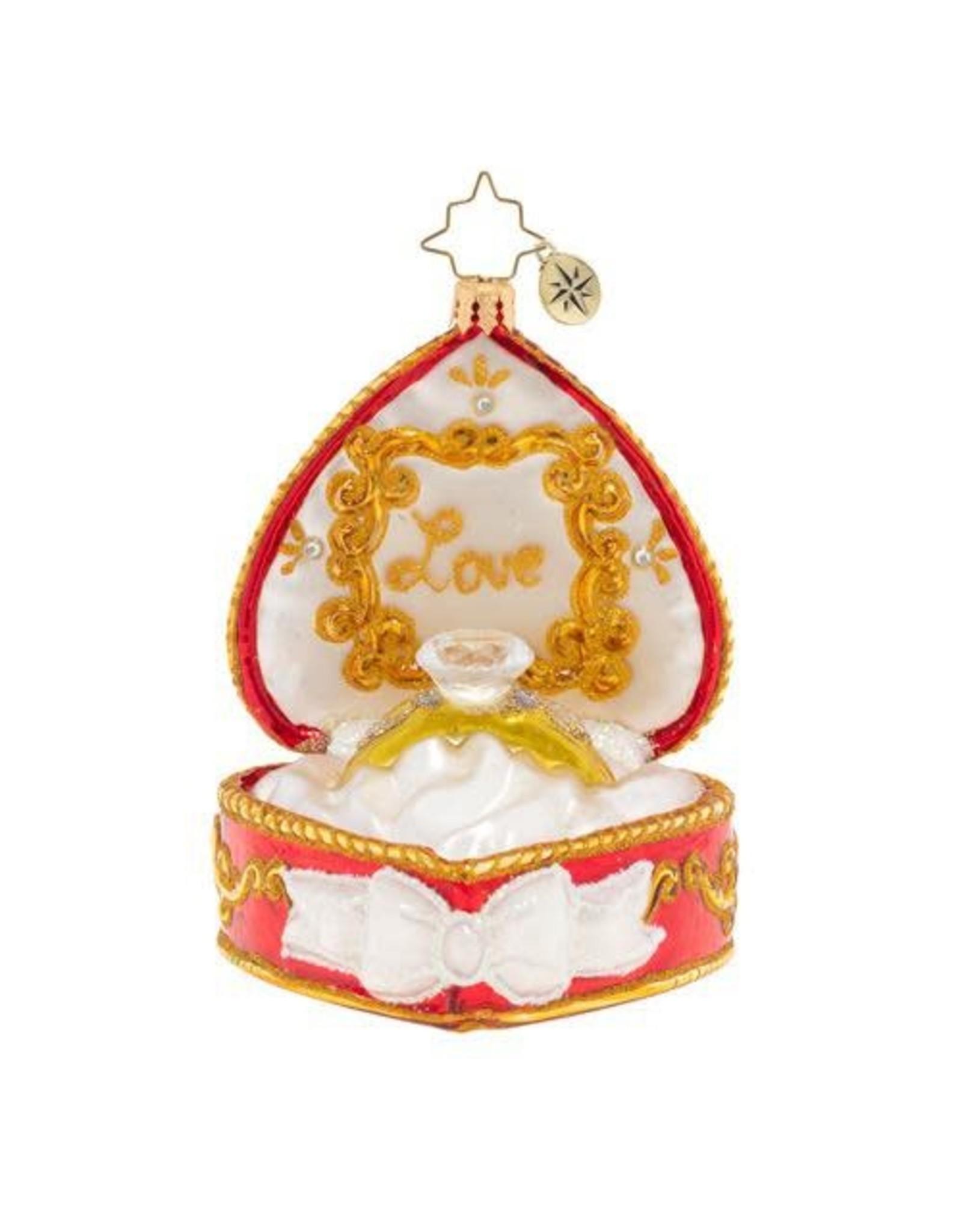 Christopher Radko Forever And Always Heart Ring Box Christmas Ornament