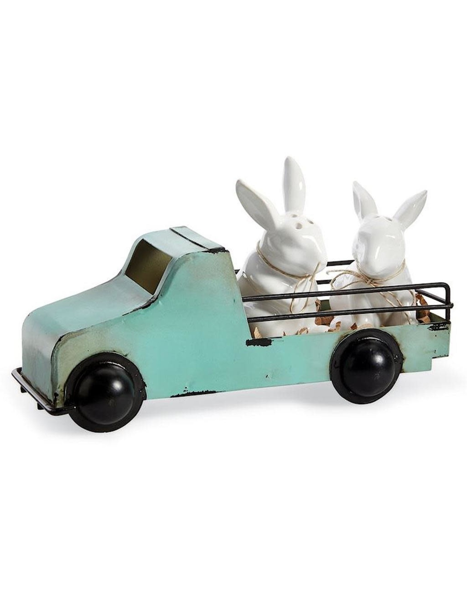 Mud Pie Bunny Truck Salt And Pepper Shakers Set W Bunnies in Tin Truck
