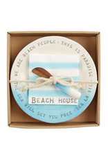 Mud Pie Beach House Cheese Plate W Spreader And Napkins Set