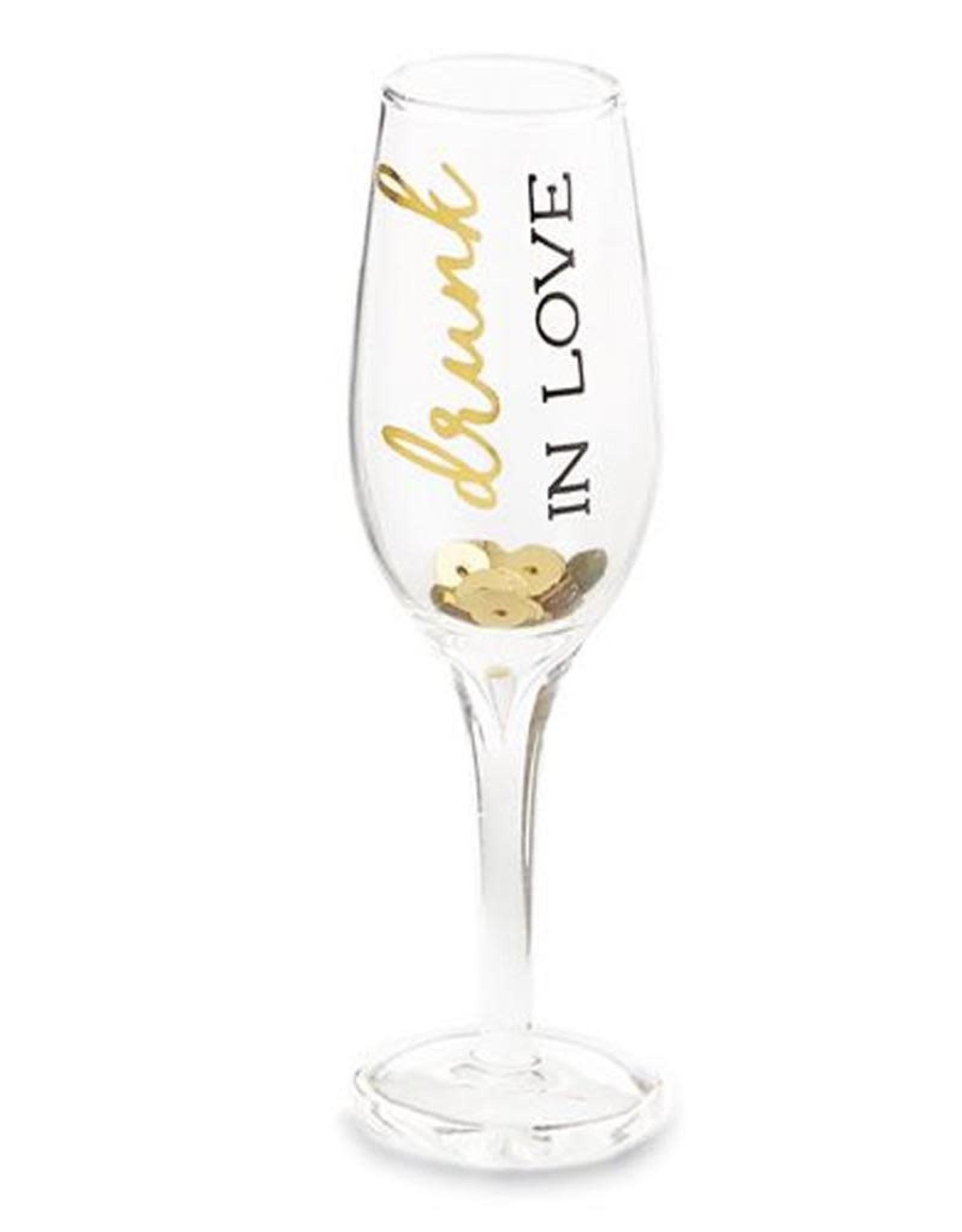 Mud Pie Bridal Party Mini Champagne Flute Shot Glass 1 oz Drunk In Love