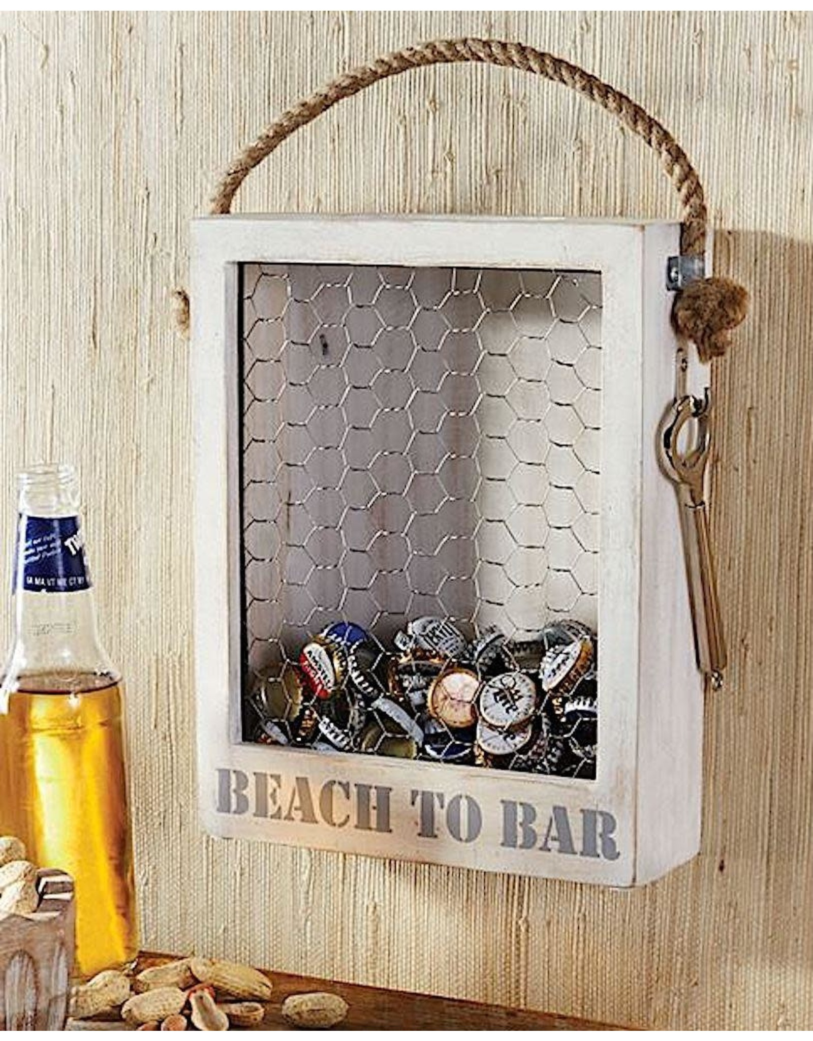 Mud Pie Beach To Bar Bottle Top Display Box W Bottle Opener On Chain