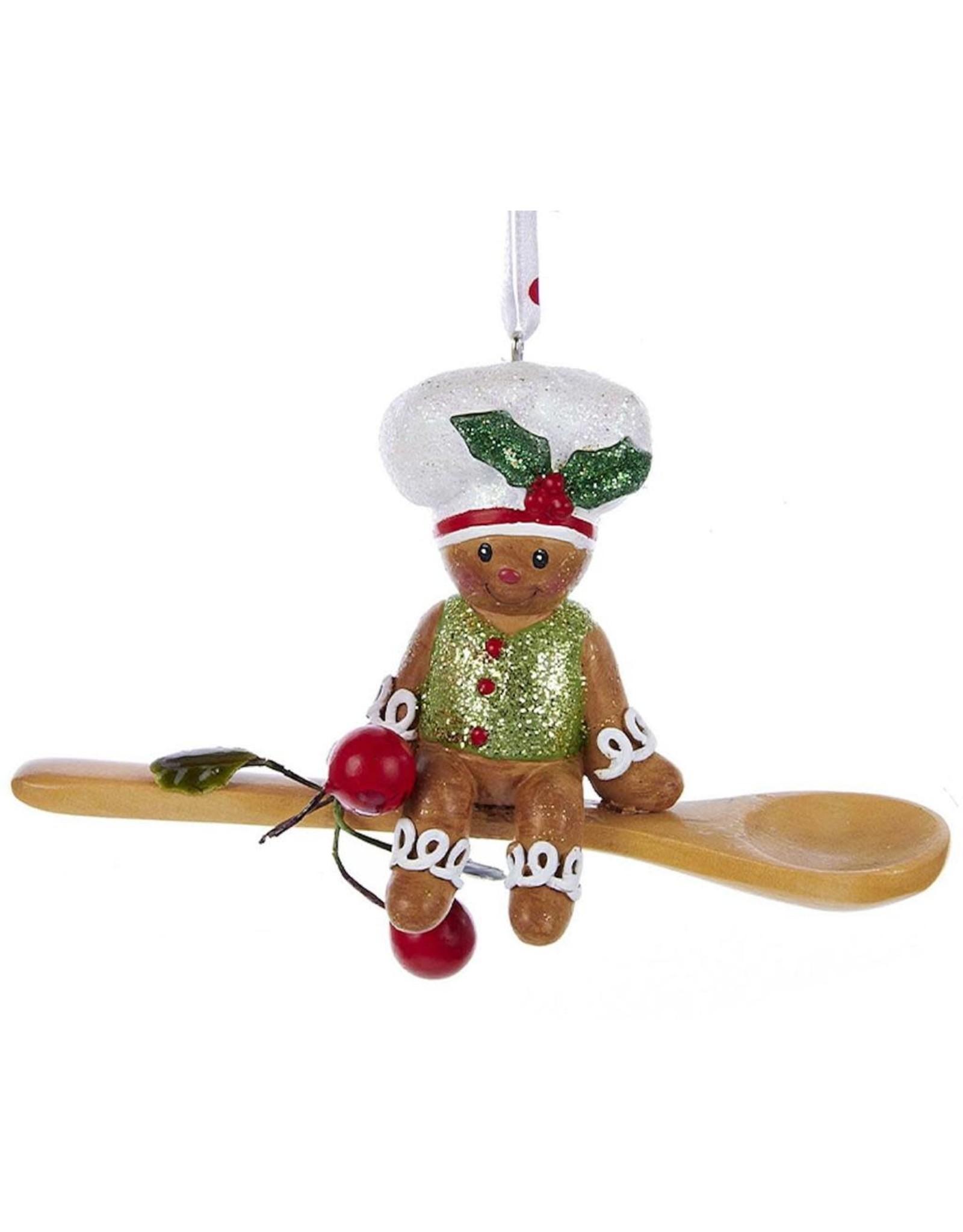 Kurt Adler Gingerbread Chef Boy Utensil Ornament Sitting On Spoon