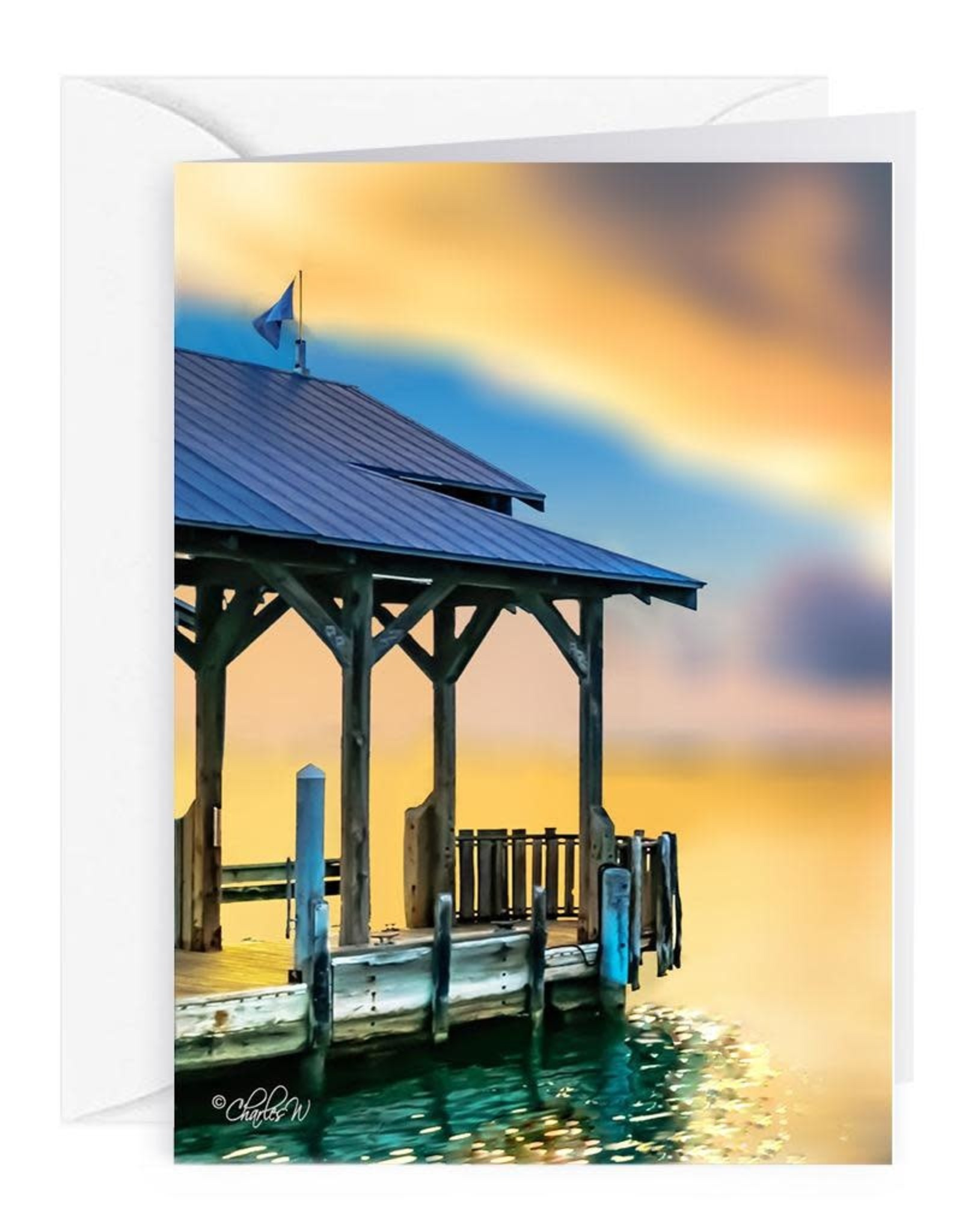 By The Seas-N Greetings Blank Note Card - Cash - Gift Card Holder - Sunset Key Dock II
