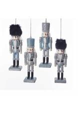 Kurt Adler Blue Silver Glitter Wooden Nutcracker Ornaments 4pc Set