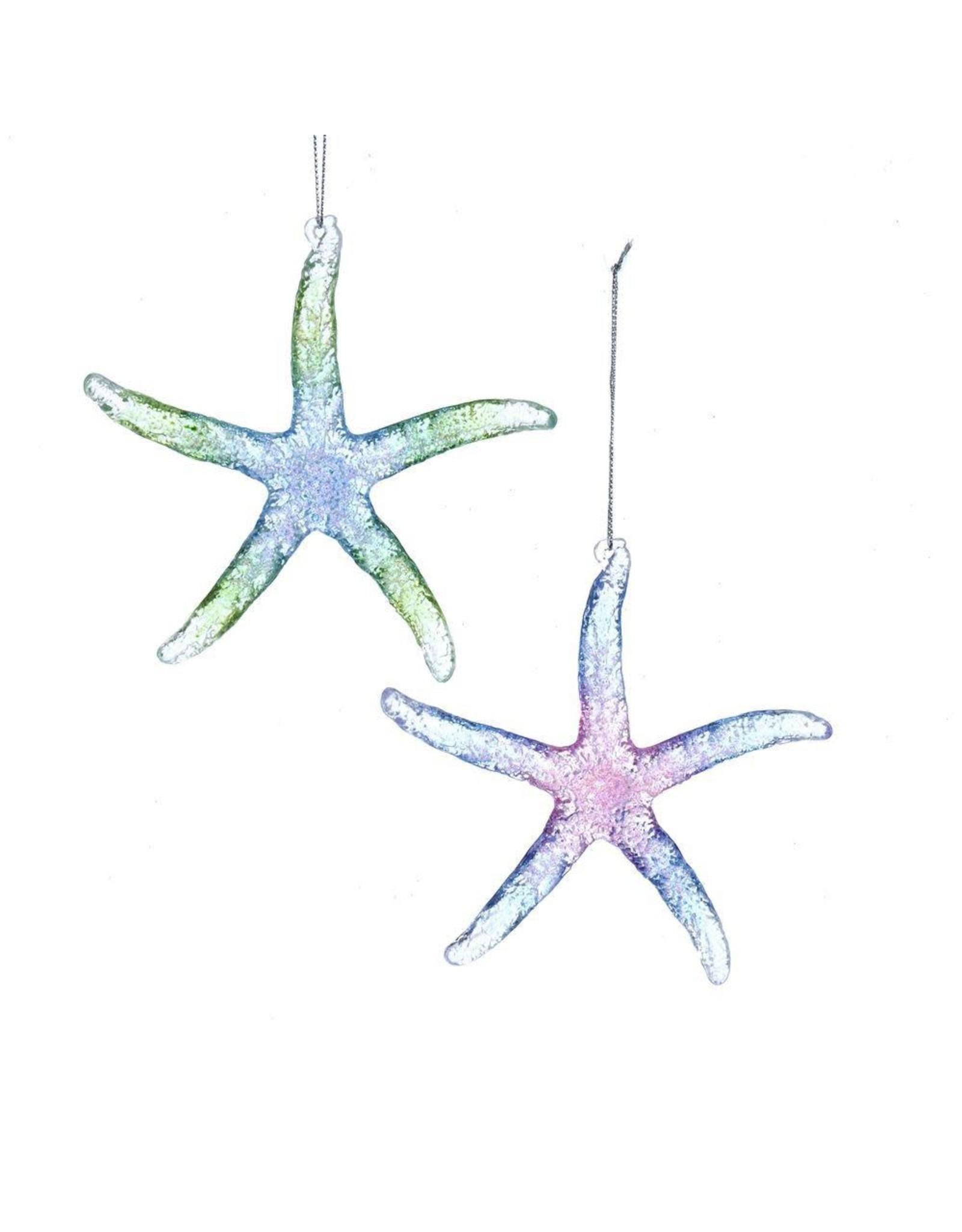 Kurt Adler Acrylic Glittered Starfish Ornaments 2 Assorted