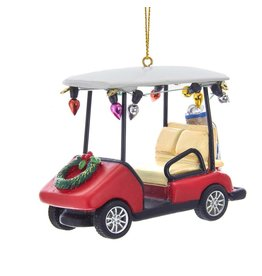 Kurt Adler Christmas Golf Cart Ornament Red W Wreath And Bulbs