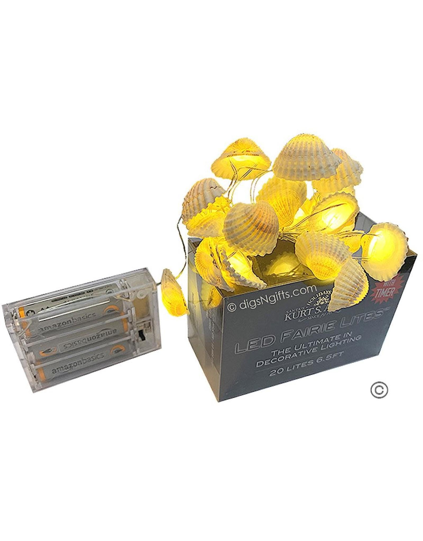 Kurt Adler Shell Fairy Lights 20 Light Set Battery-Operated White Shells