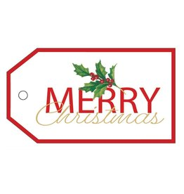 Caspari Hanging Gift Tags 4pk Merry Christmas Holly Branch